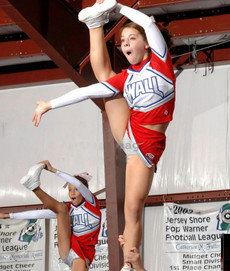 Teens cheerleaders during training pictures