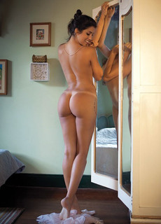 Naked skinny with a thin body and tiny buttocks