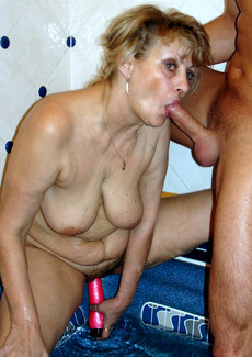 Old dude playing with his mature wife with his..