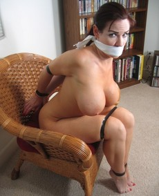 Amazing bondage photo with a sexy big tits.