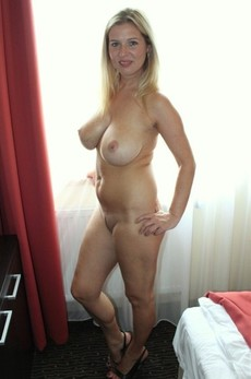 Lovely blonde mother in hot homemade wife photo.