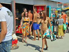 Very gutsy young nudist not afraid to be seen..