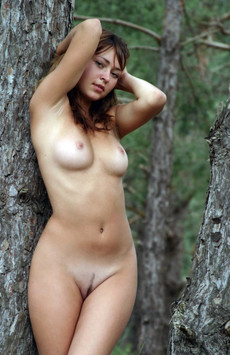 Redhead babe with hairy pussy and tiny tits..