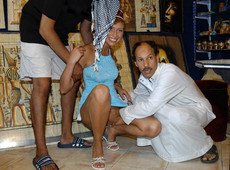Leggy women tourist fucks with two arabian men