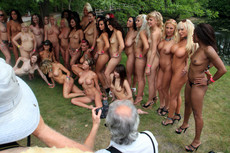 Nude girlfriends and moms in one nude party