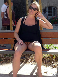 Blonde wife without panties anywhere