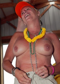 Topless mature party, nude middle-aged women..