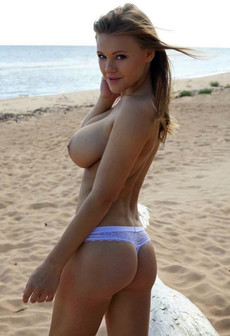 Big tits on the beach, strong south wind