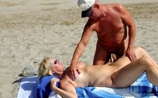An elderly stranger massages the cunt of my wife..