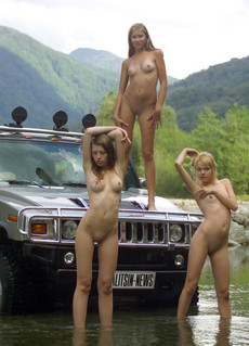 Photo set in the mountains, girls like big cars
