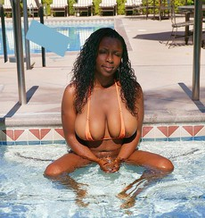 Curvy black BBW with big black tits in the..