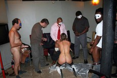 Excited men in the masks gangbanged mature bitch